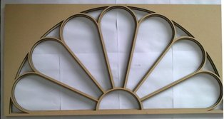 Mockup of 10 Downing Street door frame panel for statge set (in MDF)